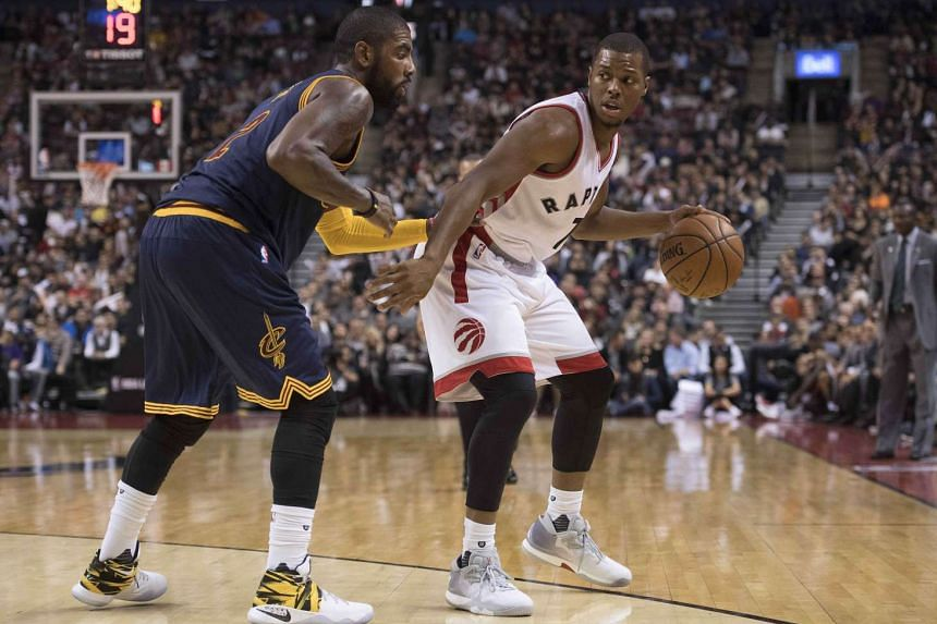 Toronto Raptors guard Kyle Lowry (right) dribbles the ball as Cleveland Cavaliers guard Kyrie Irving defends during the third quarter at Air Canada Centre on Oct 28, 2016. The Cavaliers won 94-91.