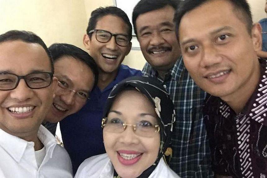 (From left) Mr Anies Baswedan, incumbent Jakarta governor Basuki Tjahaja Purnama, Mr Sandiaga Uno, Ms Sylviana Murni, Mr Djarot Saiful Hidayat and Mr Agus Harimurti Yudhoyono. While Mr Anies and Mr Sandiaga had thrown their hats into the ring earlier