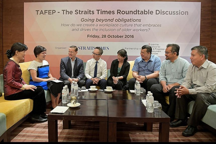 From left: Dr Helen Ko, executive director of training consultancy Beyond Age; Ms Lee Su Shyan, The Straits Times' business editor; Mr Alexander Melchers, Tafep board member and SNEF vice-president; Mr Jason Ho, OCBC Bank's head of group human resour