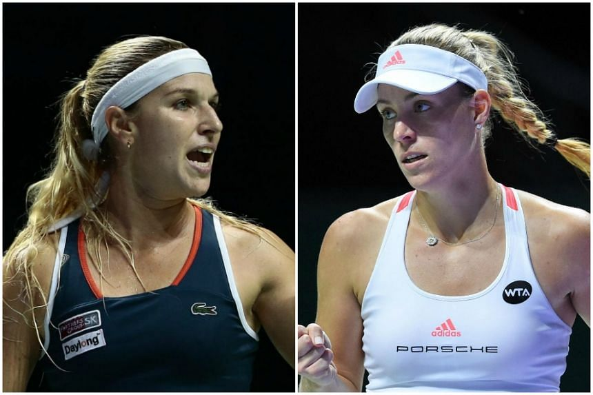 World No. 1 Angelique Kerber (right) and No. 8 Cibulkova will face each other in the finals of the BNP Paribas WTA Finals Singapore presented by SC Global on Sunday (Oct 30).