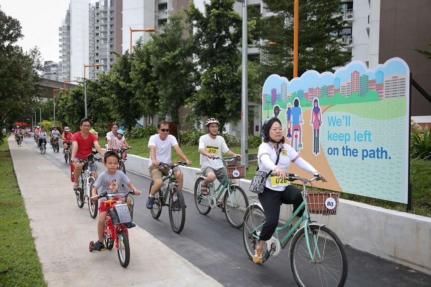 Residents using the newly completed cycling path in Punggol on Oct 30, 2016.