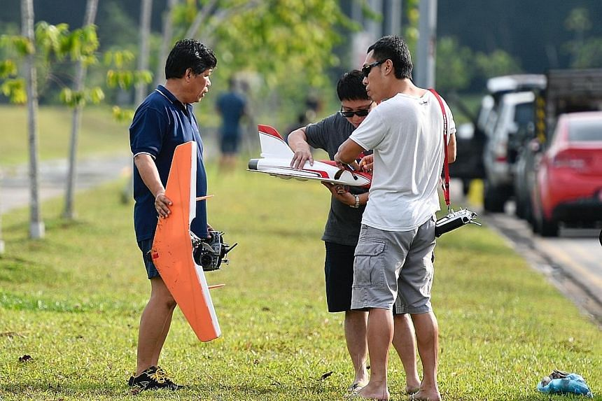 When The Sunday Times visited this field in Tampines recently, some people the reporter spoke to admitted they were flying drones without a permit. Flying drones at this field along Tampines Avenue 10 requires a permit as it is within 5km of Paya Leb