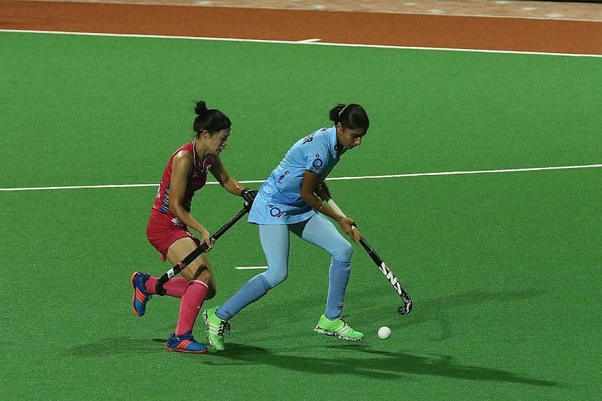 The 4th Women's Asian Champions Trophy got under way yesterday at the Sengkang Hockey Stadium. Holders Japan were held to a 2-2 draw by India (above), while world No. 9 South Korea beat Malaysia 5-2. The five-team tournament continues today with Sout
