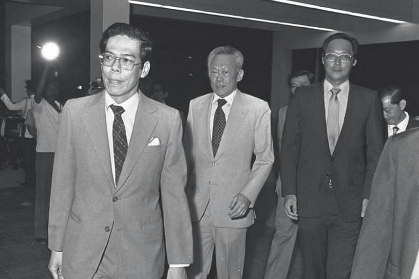 Dr Kwa Soon Bee (in front) attending the opening of the new Singapore General Hospital in 1981, with then-PM Lee Kuan Yew (centre) and Mr Goh Chok Tong, who was the Minister of Health at that time.