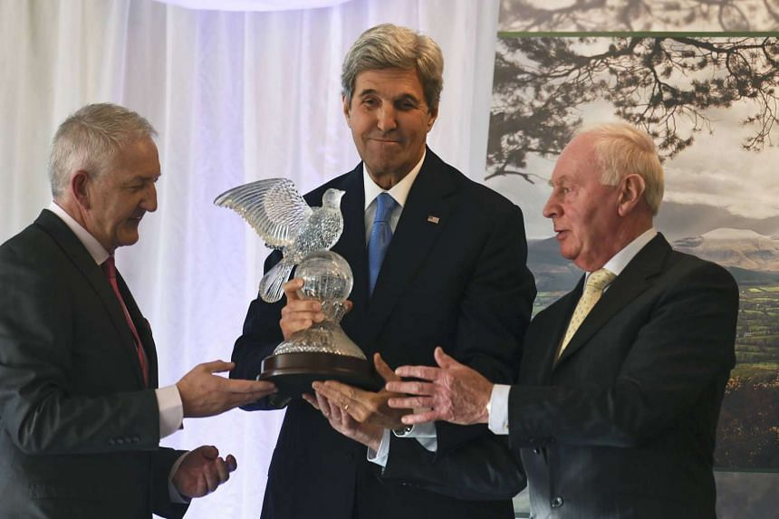US Secretary of State John Kerry accepting the Tipperary International Peace Award in Tipperary, Ireland, on Oct 30, 2016.