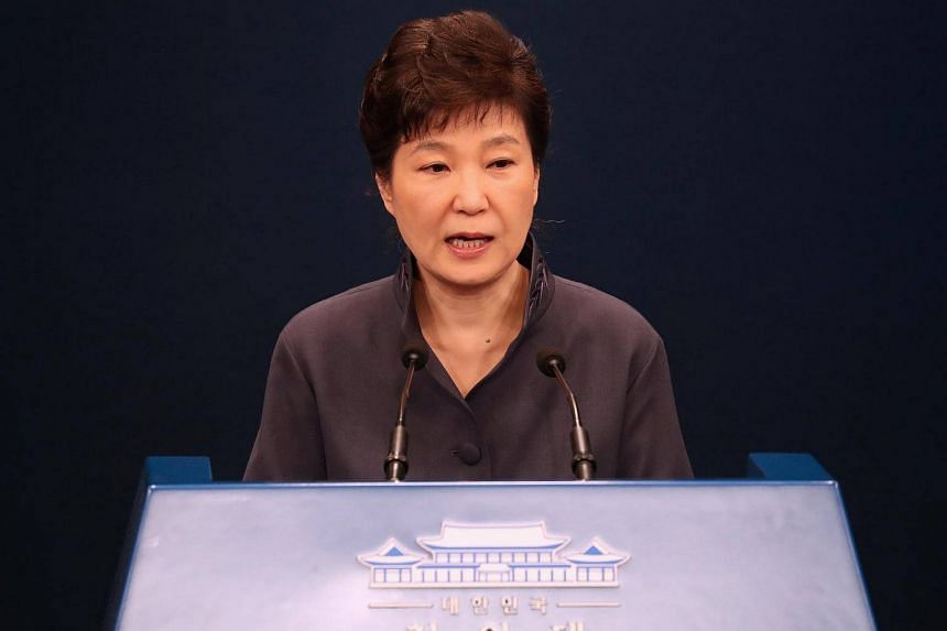 South Korean President Park Geun Hye releases a statement of apology to the public during a news conference at the Presidential Blue House in Seoul, South Korea, on Oct 25, 2016.
