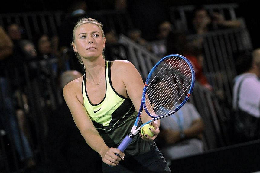 Tennis star Maria Sharapova competing in the World TeamTennis Smash Hits charity tennis event benefiting the Elton John Aids Foundation on Oct 10, 2016, in Las Vegas, Nevada.