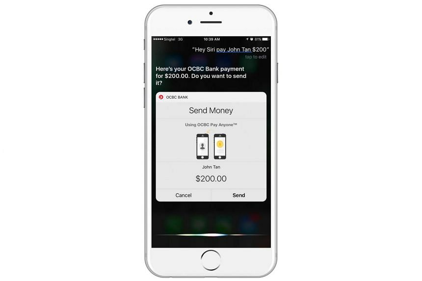 OCBC banking customers can now speak to their Apple iPhone to activate a fund transfer. The service is available to customers using iPhones running on the iOS 10 software and the latest OCBC Mobile Banking app.