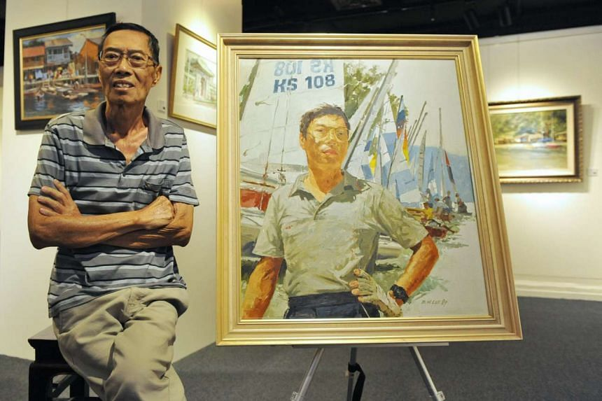 Singapore painter Lee Boon Wang poses with his 1989 oil self-portrait as a sailor.