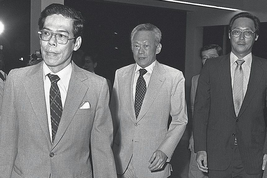 Dr Kwa with then Prime Minister Lee Kuan Yew and Health Minister Goh Chok Tong at the opening of the redeveloped SGH in 1981. Dr Kwa became its medical superintendent in 1972, and led the efforts to rebuild it.