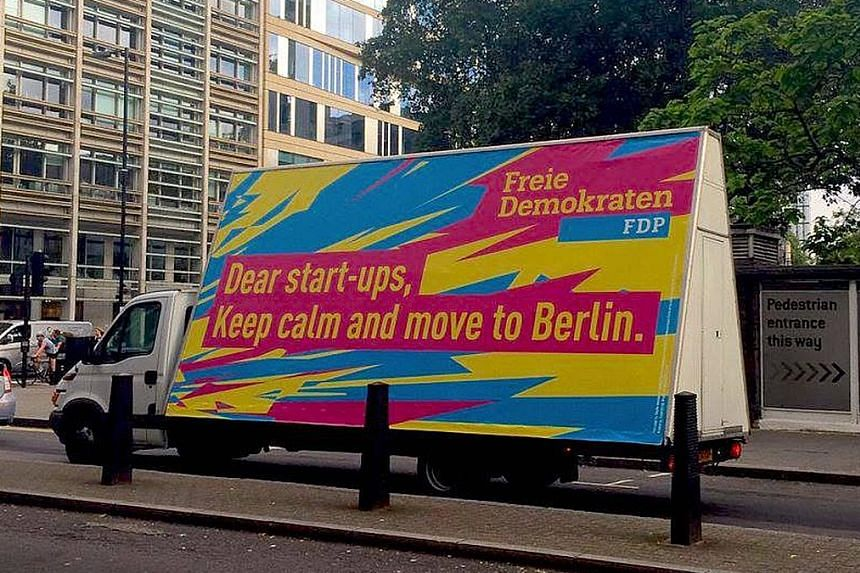The German Free Democrats (FDP) sent a truck around London in July with a message addressed to start-up businesses encouraging them to move to Berlin after the Brexit referendum.