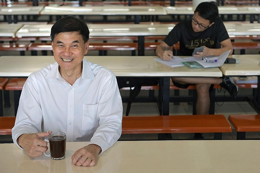 Nanyang Junior College principal Kwek Hiok Chuang is known for talking to students in the canteen during their break, with a glass of coffee in his hand. He believes that when students like the school, they are prepared to do more. Former students ha