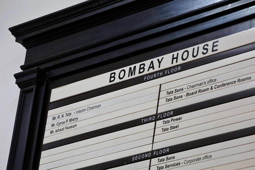 A name board is pictured at the entrance of Bombay House, headquarters of Tata Group, in Mumbai.