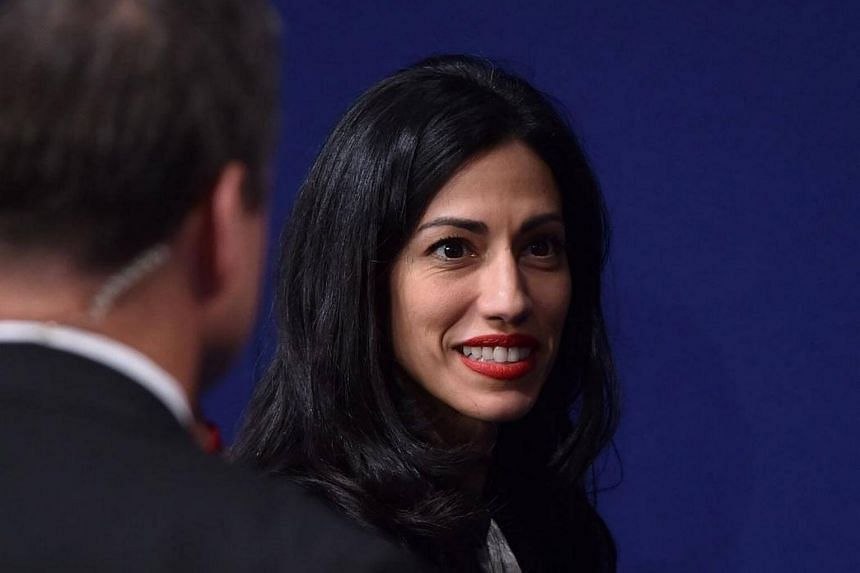 Ms Huma Abedin, political staffer and aide to Democratic presidential candidate Hillary Clinton, following the second presidential debate in St. Louis on Oct 9, 2016.