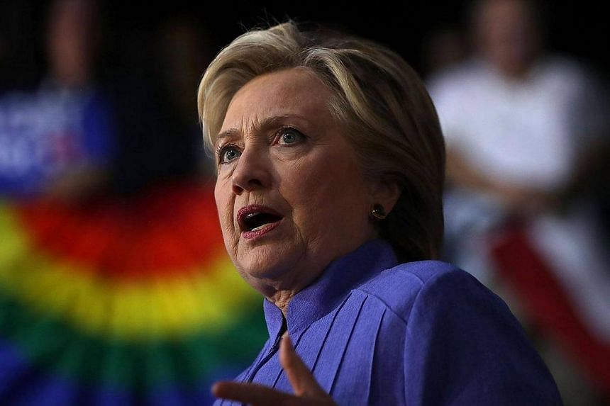 Mrs Hillary Clinton speaks during a campaign event at The Manor Complex on Oct 30, 2016, in Wilton Manors, Florida.