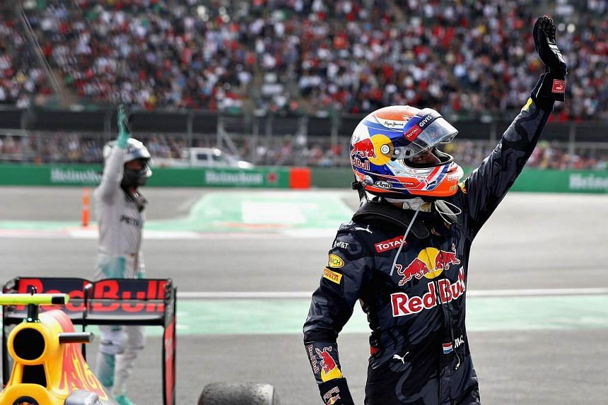 Max Verstappen of Netherlands and Red Bull Racing waves to the crowd in parc ferme during the Formula One Grand Prix of Mexico at Autodromo Hermanos Rodriguez on Oct 30, 2016, in Mexico City.