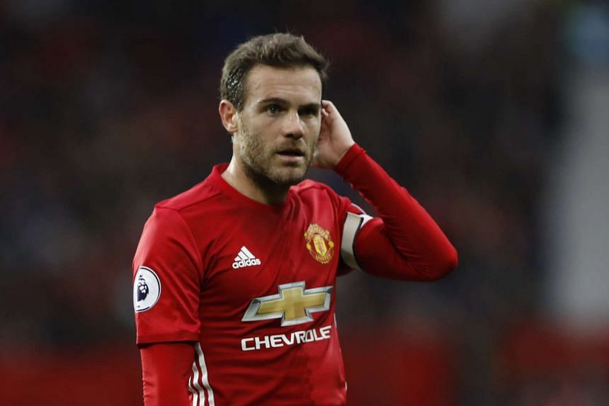 Manchester United's Juan Mata during the Premier League match against Burnley at Old Trafford on Oct 29, 2016.