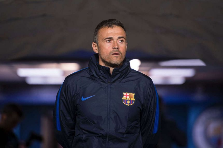 Barcelona's coach Luis Enrique arrives for a team training session at the Etihad Stadium in Manchester on Oct 31, 2016.
