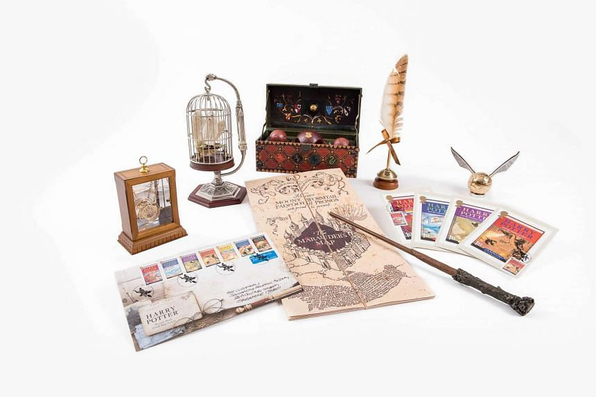 Movie memorabilia, postcards and stamps from the Singapore Philatelic Museum's first-ever exhibition of Harry Potter stamps.