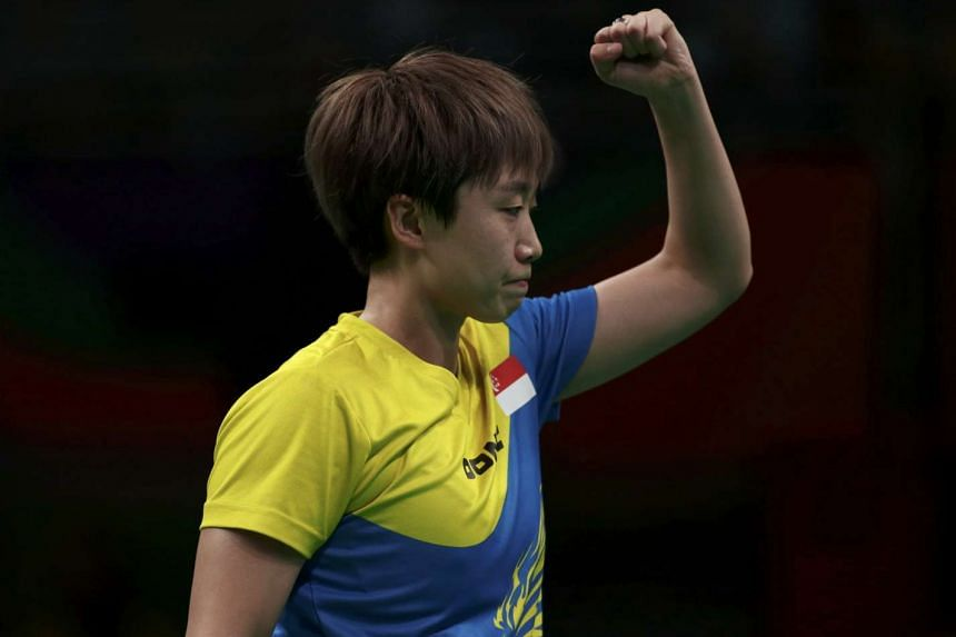 Feng Tianwei celebrates a point during her Rio 2016 Olympics Women's Team quarterfinals match against Seo Hyo-Won of South Korea.