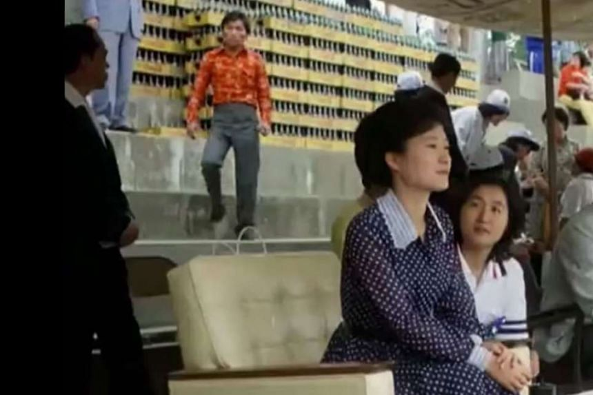 Video footage from Internet media outlet Newstapa shows Park Geun Hye and Choi Soon Sil at a university campus in Seoul in June 1979.