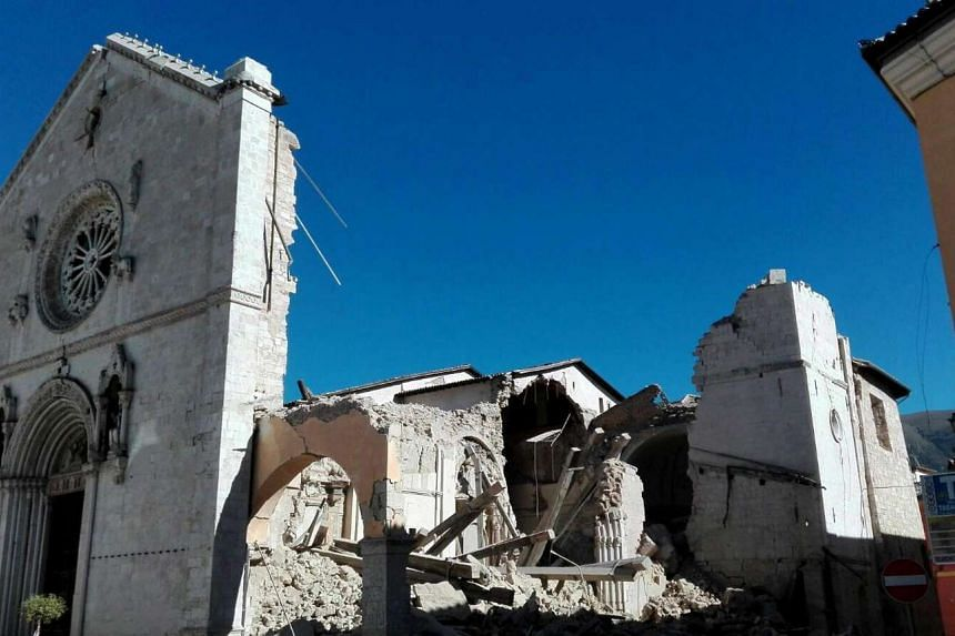 The Basilica of San Benedetto was destroyed after the strong earthquake in central Italy, Norcia, Umbria.