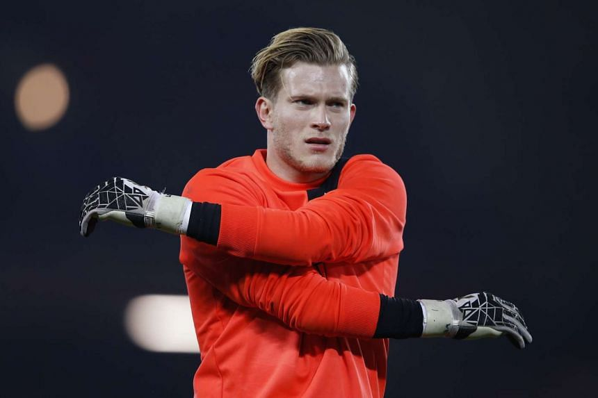 Liverpool's Loris Karius warms up before the EFL Cup match against Tottenham Hotspur at Anfield on Oct 25, 2016.