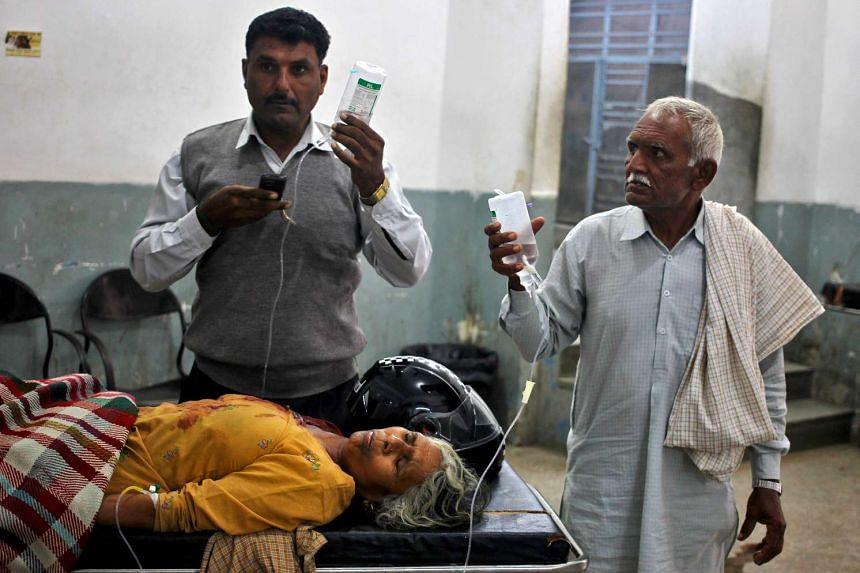 A woman, who according to local media was wounded in a shelling attack at the international border with Pakistan, is pictured inside a government hospital in Jammu on Nov 1, 2016.