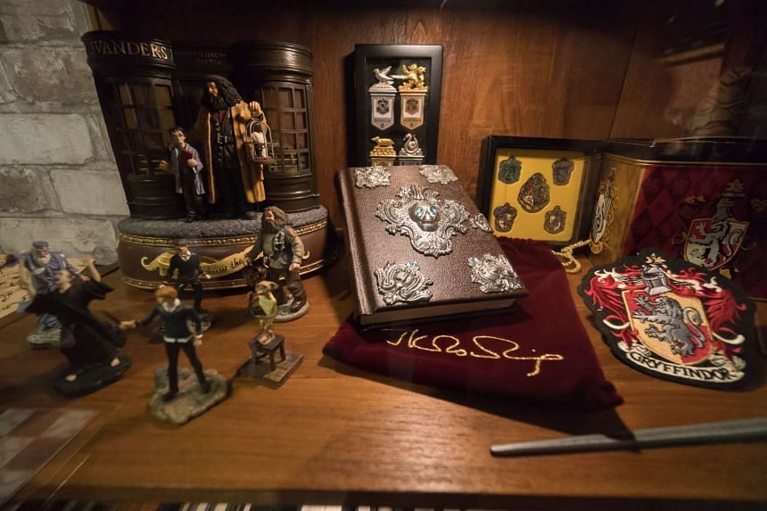 Memorabilia at the Harry Potter exhibition space.