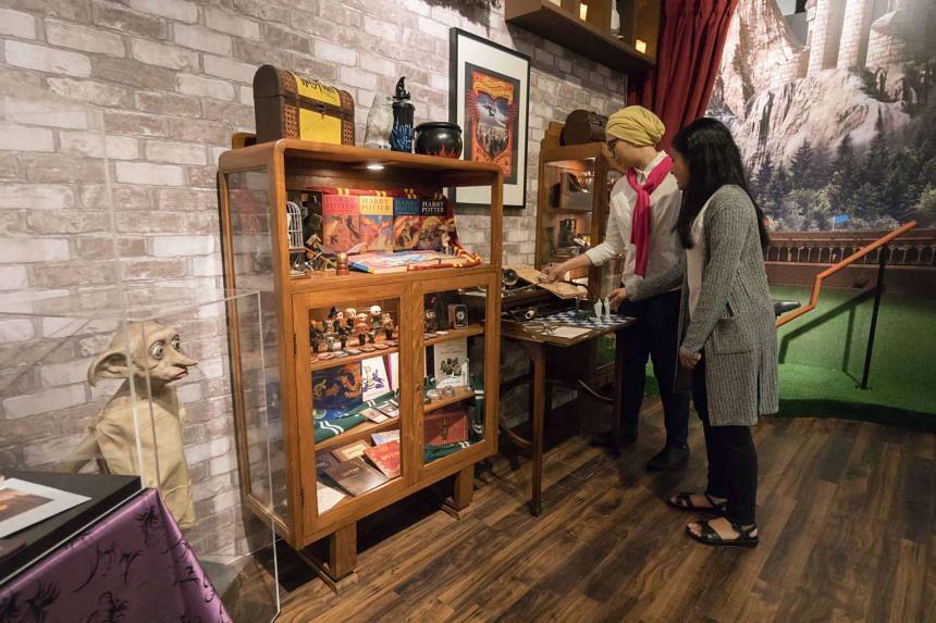 Memorabilia at the Harry Potter exhibition space.