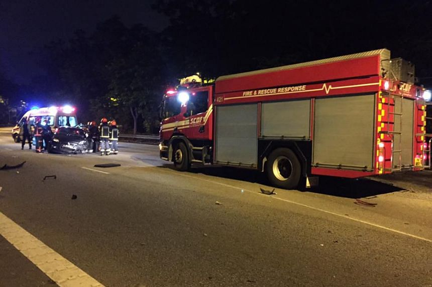 Fatal accident on the Pan-Island Expressway near the Upper Jurong Road exit on Nov 2, 2016.
