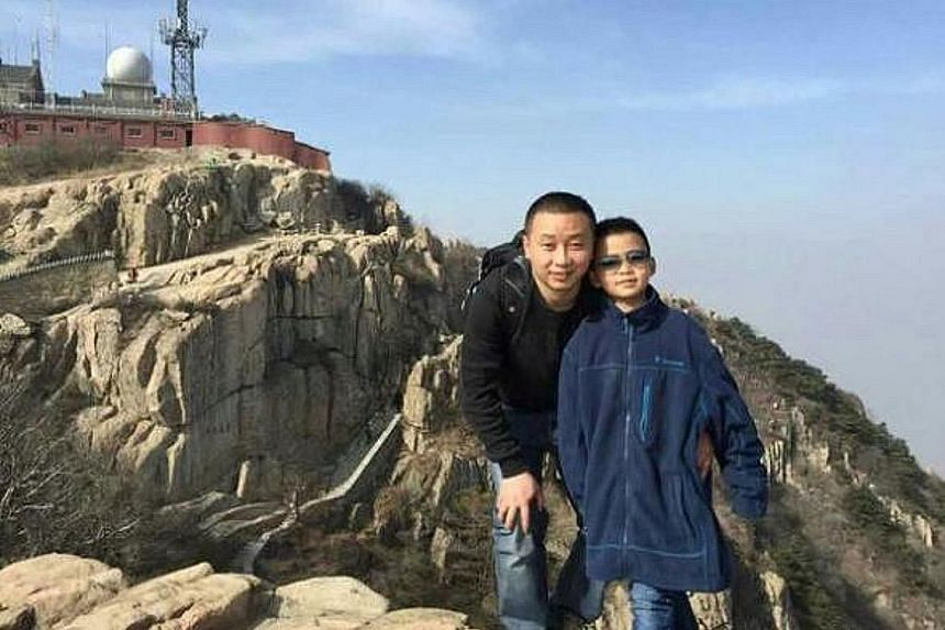 Top: Cao Yinpeng with his father, Mr Cao Lei, a clerk from Xuzhou. Above: Eight-year-old Cao Yinpeng stopped attending school and put on 10kg in two months in order to meet the minimum weight requirement for donating blood marrow to his leukaemia-str