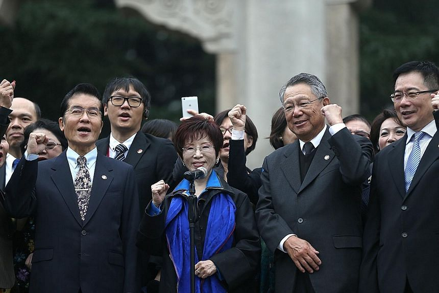 Kuomintang leader Hung Hsiu-chu, who is on a five-day visit to China, at the Sun Yat-sen Mausoleum in Nanjing on Monday.