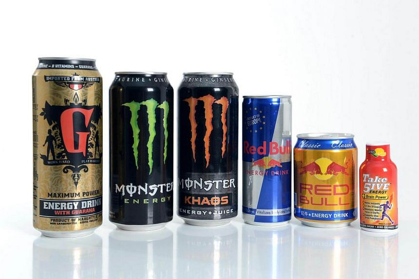 A range of energy drinks from brands like Monster and Red Bull.