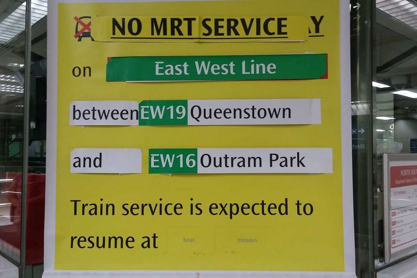 Train services were stopped between Queenstown and Outram Park stations on Wednesday (Nov 2) evening.