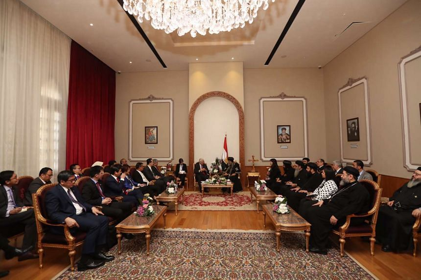 Singapore President Tony Tan and members of the Singapore delegation meet Coptic Pope Tawadros II on Wednesday (Nov 2).