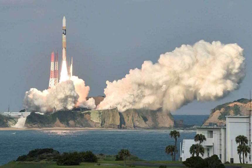 A H-2A rocket carrying a Japan Meteorological Agency weather satellite launching from Tanegashima Space Centre in Kagoshima Prefecture on Nov 2, 2016.