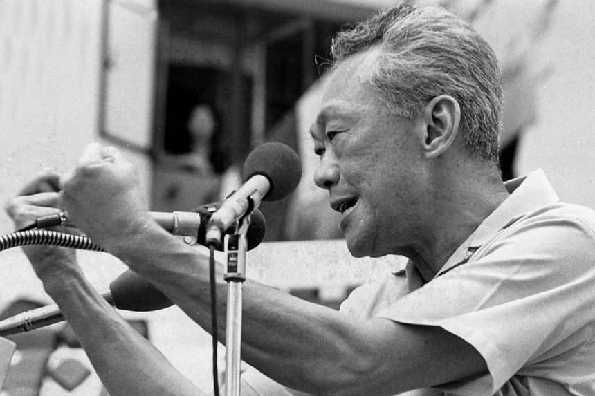 Mr Lee Kuan Yew speaking at a PAP rally in 1980.