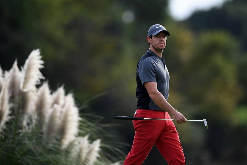 Rory McIlroy of Northern Ireland reacts on the 18th during the final round of the World Golf Championships-HSBC Champions golf tournament in Shanghai.