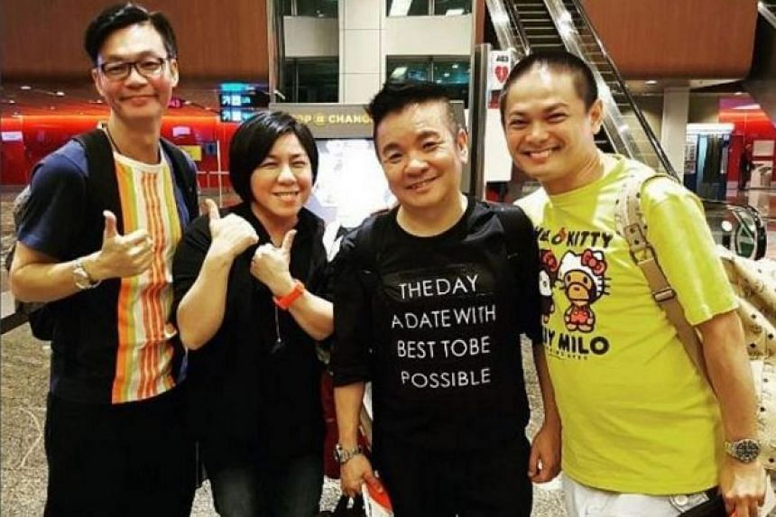 (From left) Mark Lee, Chen Biyu, Marcus Chin and Dennis Chew were in transit at Hong Kong airport on their way to Singapore.