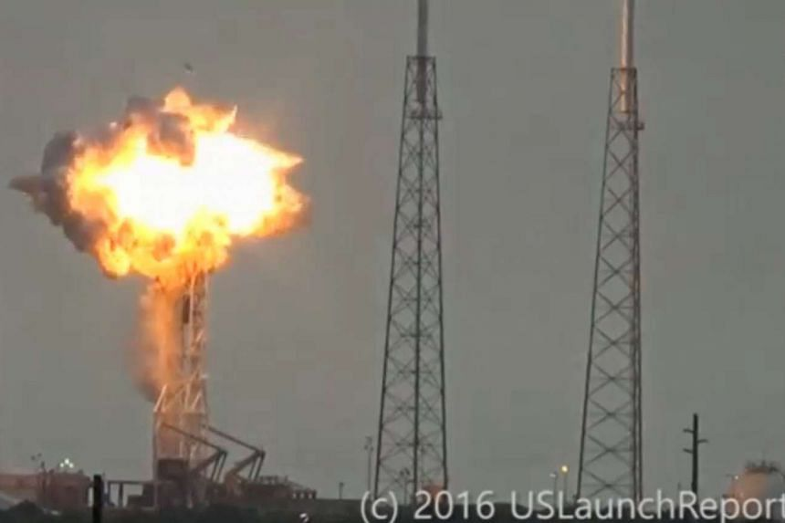 An explosion on the launch site of a SpaceX Falcon 9 rocket is shown in this still image from video in Cape Canaveral, Florida, US on September 1.