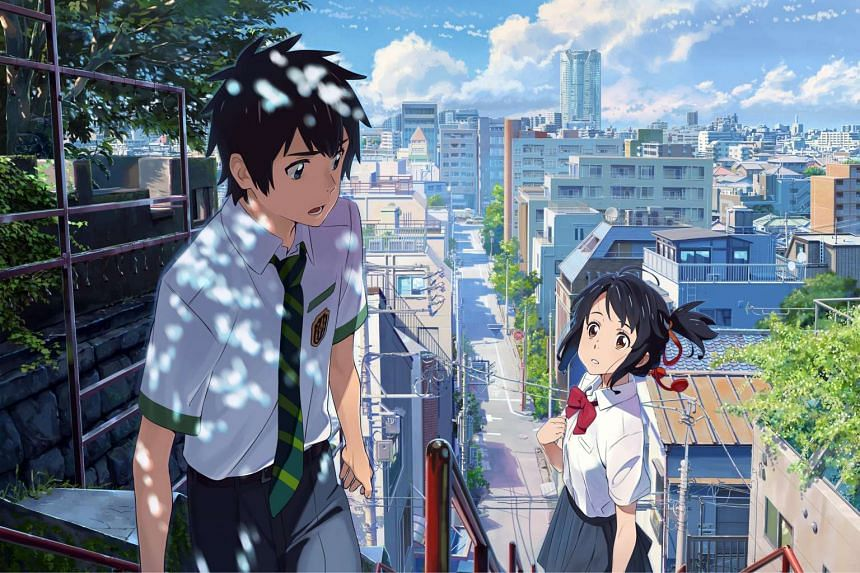 Taki and Mitsuha cross paths and fall in love in the anime, Your Name.