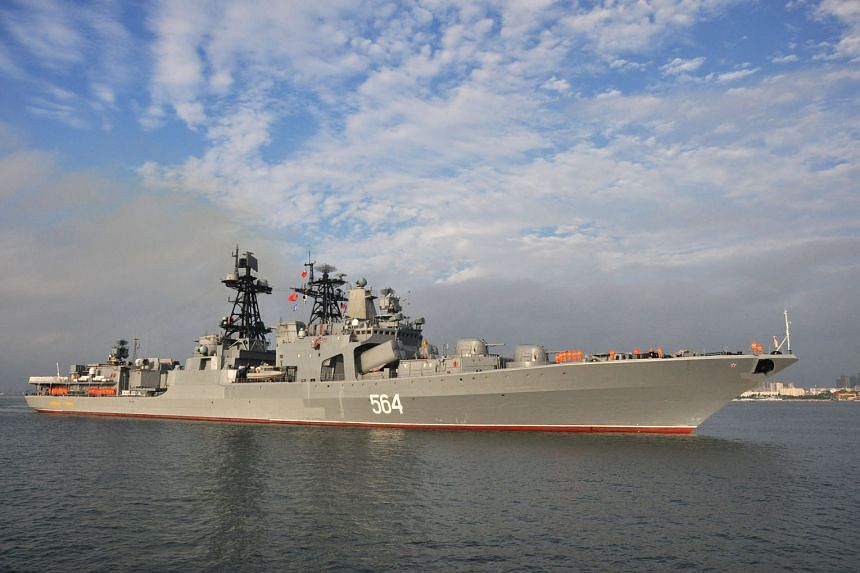 Russian destroyer Admiral Tributs arriving at Zhanjiang in China's southern Guangdong province in September. The current tensions in the South China Sea will be a major challenge for the next US president.