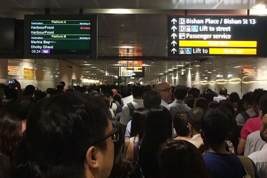 The crowd at Bishan MRT station on the Circle Line, which was hit by a signal fault on Wednesday morning.
