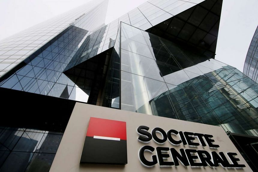 French bank Societe Generale's headquarters building at La Defense business and financial district in Courbevoie, France.