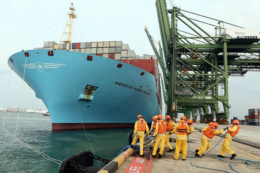 The world's largest container ship at the time of its entry in 2013, the Maersk Mc-Kinney Moller.