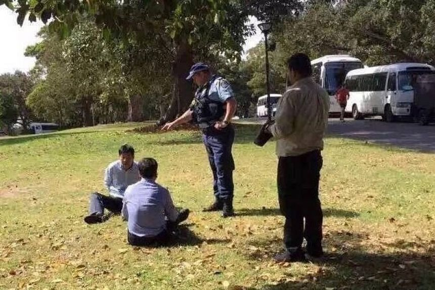 Two Chinese tourists were apprehended by Sydney police last Saturday (Oct 29) after they were caught urinating in the city's Royal Botanic Gardens.