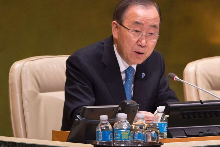 UN Secretary General Ban Ki-moon speaks during the ceremony for the appointment of the Secretary-General during the 70th session of the General Assembly at the United Nations in New York on Oct 13, 2016.