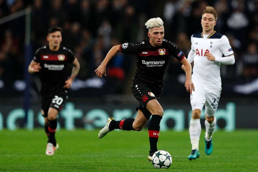 Leverkusen's Slovanian midfielder Kevin Kampl runs with the ball during the UEFA Champions League group E football match between Tottenham Hotspur and Bayer Leverkusen at Wembley Stadium in north London on Nov 2, 2016.