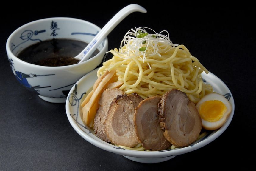 The tsukemen comes with the soup on the side. Available from Menya Musashi.